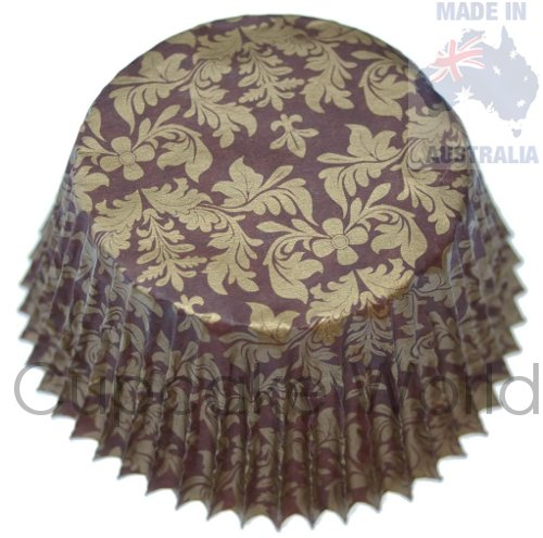 BROWN GOLD FLORAL DAMASK PAPER MUFFIN CUPCAKE CASES 50PCS