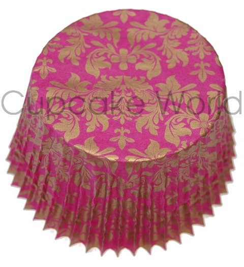 PINK GOLD FLORAL DAMASK PAPER MUFFIN CUPCAKE CASES 50PCS