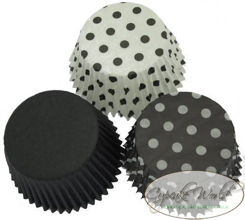 BLACK TRIO PAPER MUFFIN / CUPCAKE CASES CUPS X 60