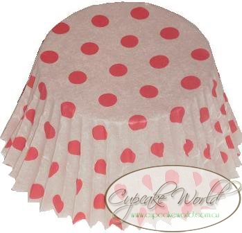 RED POLKA DOTS PAPER MUFFIN / CUPCAKE CASES X 50