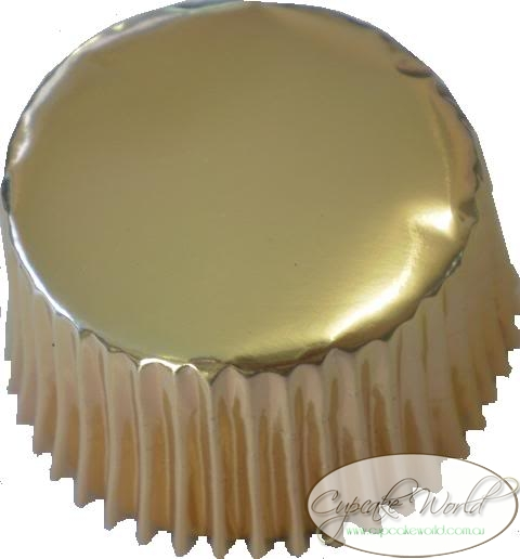 METALLIC GOLD SHINY FOIL MUFFIN / CUPCAKE CASES X 25