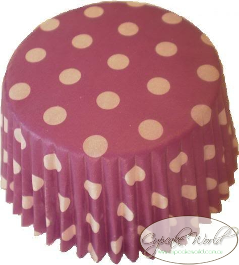 GRAPE PURPLE SPOTS PAPER MUFFIN / CUPCAKE CASES X 50
