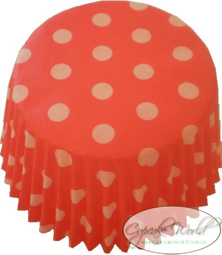 STRAWBERRY RED SPOTS PAPER MUFFIN / CUPCAKE CASES X 50