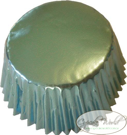 LOVELY SKY BLUE SHINY FOIL MUFFIN / CUPCAKE CASES X 25