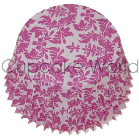 LOVELY PINK FLORAL DAMASK PAPER MUFFIN CUPCAKE CASES 50PCS