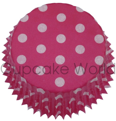 50PCS HOT PINK POLKA DOTS PAPER MUFFIN CUPCAKE PATTY CASES