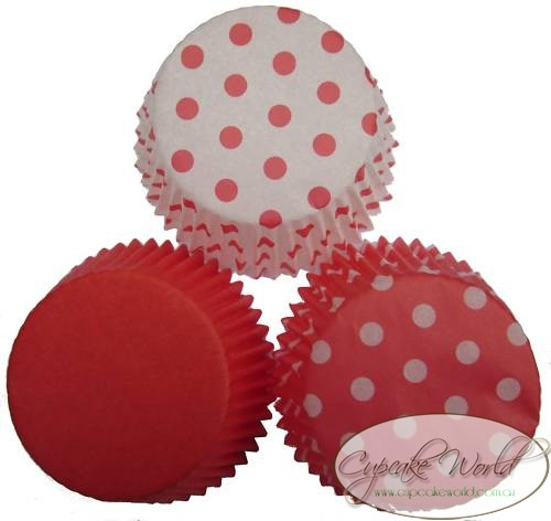BRIGHT RED TRIO PAPER MUFFIN / CUPCAKE CASES CUPS X 60