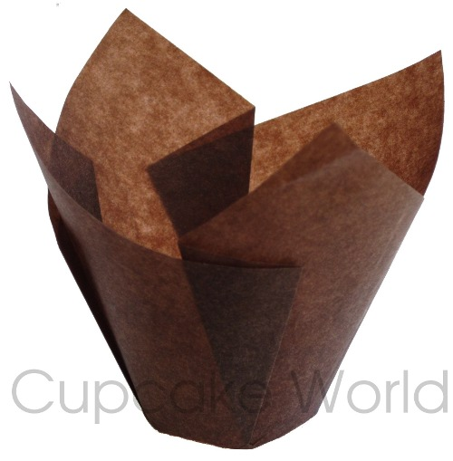 25PC CAFE STYLE BROWN PAPER CUPCAKE MUFFIN WRAPS STANDARD