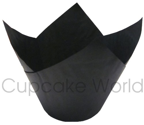 200PC CAFE STYLE BLACK PAPER CUPCAKE MUFFIN WRAPS JUMBO