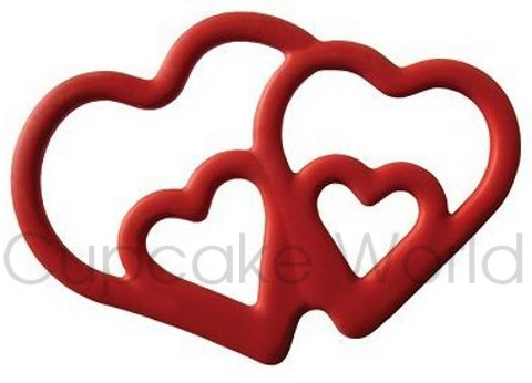 TOVOLO TWIN HEARTS COOKIE BISCUIT CUTTER WITH IMPRINT