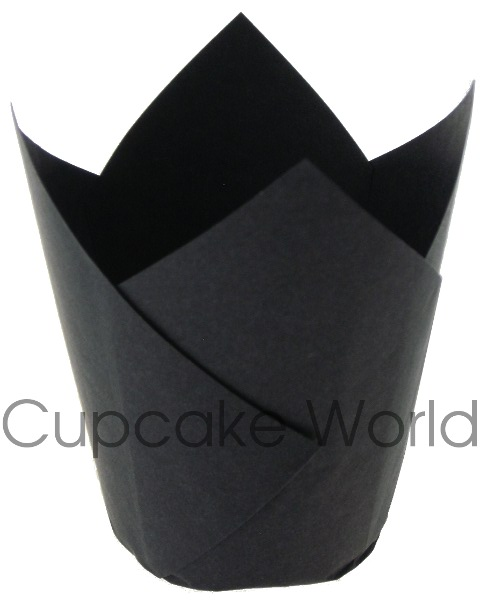 25PC CAFE STYLE BLACK PAPER CUPCAKE MUFFIN WRAPS STANDARD
