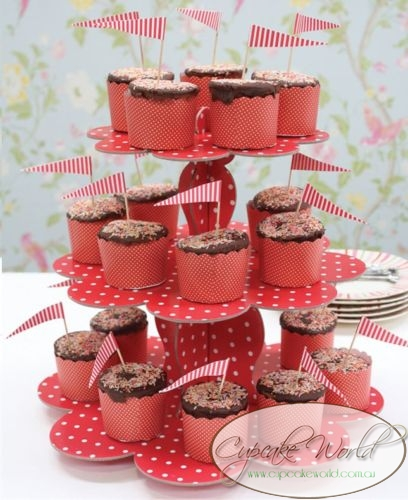 ROBERT GORDON RED DOTS CUPCAKE 3 TIER STAND DISPLAY