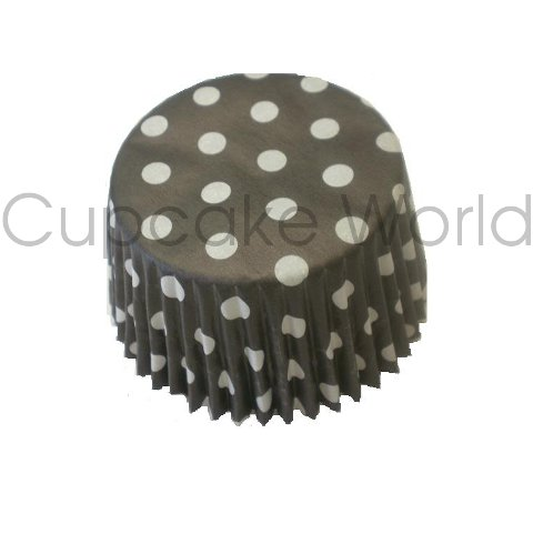 BLACK POLKA DOTS PAPER MUFFIN CUPCAKE CASES PETIT 50PCS