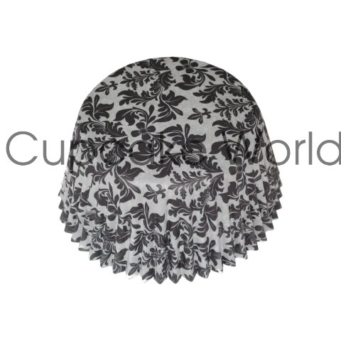 BLACK FLORAL DAMASK PAPER MUFFIN CUPCAKE CASES PETIT 50PCS