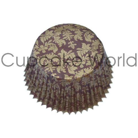BROWN GOLD FLORAL DAMASK PAPER MUFFIN CUPCAKE CASES PETIT 50PCS