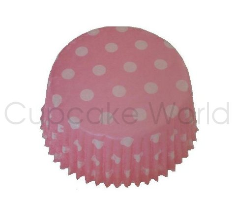 PINK POLKA DOTS PAPER MUFFIN CUPCAKE CASES PETIT 50PCS