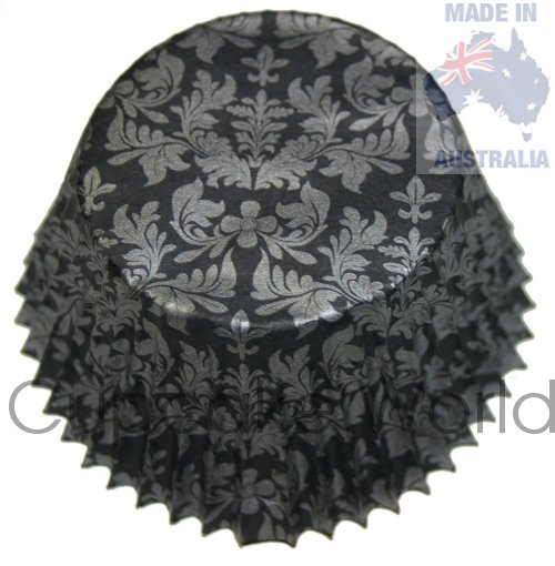 BLACK SILVER FLORAL DAMASK PAPER MUFFIN CUPCAKE CASES 50PCS